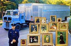 Virginia Museum of Fine Arts Richmond VA (Edge and corner wear) Tags: tractor art mobile museum vintage french outdoors virginia pc postcard fine paintings guard wide arts exhibit exhibition richmond chrome va driver trailer traveling roadside load handler easel rafts