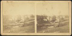 Farm scene with unidentified men on bridge (Boston Public Library) Tags: houses barns farms bostonpubliclibrary bpl groupportraits stereographs photographicprints ruralareas portraitphotographs