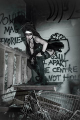 YOU WON'T LAST 2 MINUTES IN MY WORLD, YOU PUNK ASS WHITE BOY (Busha_b) Tags: portrait urban abandoned dreadlocks scary junk die grafitti decay gothic spooky warehouse fairy fantasy latex junkyard scrapyard facepaint trolly scrap derelict myth alternative cyber urbex contactlens postapocalyptic sclera antwoord zef canonefs1755mm djhitek canoneos60d donkermag