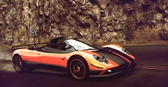 Zonda Cinque (polyneutron) Tags: orange motion wet car photography overcast automotive videogame needforspeed supercar zonda nfs pagani hotpursuit photomode hp2010