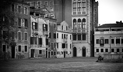 Off the beaten track (Just Ard) Tags: street city venice houses people blackandwhite bw italy white black building blancoynegro monochrome architecture square person photography 50mm mono nikon noiretblanc zwartwit candid d750 unposed  biancoenero schwarzundweis justard