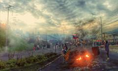 Barricada de pescadores artesanales en Chilo (Fotografa transicin) Tags: chile pueblo protesta castro bastion banderas hdr patria chiloe pescadores chilo chilenos luto bastin causa bloqueo barricada pobladores quema chilenidad chilotes