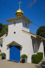 door to the blues (Riex) Tags: california door blue sky building church architecture saratoga chapel bleu ciel porte sfba orthodox eglise chapelle batiment californie g9x