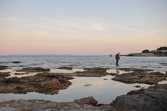 Fisherman in s'Estanyol (AlexandraCabrer) Tags: sunset sea portrait sky beach canon 50mm mar fishing fisherman spain retrato playa cielo puestadesol mallorca rocas pescador pescar estanyol sestanyol canon6d