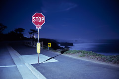 (patrickjoust) Tags: california ca usa santacruz color 120 film night analog america dark lens us focus long exposure mechanical united release tripod north patrick rangefinder slide cable pacificocean stopsign chrome after 6x9 medium format states tungsten manual northern expired joust 90mm e6 fujinon balanced discontinued estados f35 reversal unidos autaut fujichromet64 patrickjoust fujicagw690