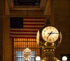 Grand Central's Iconic Decorations (LJS74) Tags: nyc newyorkcity clock manhattan americanflag midtown chandelier subwaystation grandcentral opal grandcentralterminal