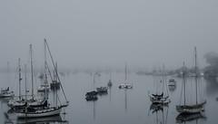 Fog in Morro Bay (Kjell J Lien) Tags: california usa fog see boat morrobay