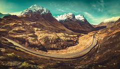 A Morning With Three Sisters (Iain Brooks) Tags: sunset panorama 3 snow mountains sisters landscape scotland glencoe hdr buachaille