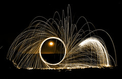 moonfire (johnsinclair8888) Tags: longexposure lightpainting fire nikon lasvegas police sigma wideangle moonrise sparks steelwool