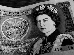 One Pound Note (CookieMonsterHSA) Tags: old greatbritain blackandwhite white money black monochrome paper grey one cash note sterling pound currency queenelizabeth bankofengland
