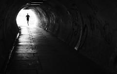 Through the Light (Duncan212) Tags: street blackandwhite bw blackwhite edinburgh streetphotography tunnel runner lightshadow lightshade acros lightdark ballgreen