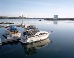 Beverly, MA. (Brian Maryansky) Tags: plant film mediumformat balloons landscape harbor boat tank power oil 6x7 mamiya7