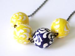 PrettyKiku - Necklaces (PrettyKiku) Tags: handmade jewelry sample technique papiermache necklaces papermache japanesepaper washi chiyogami austincraftriot prettykiku