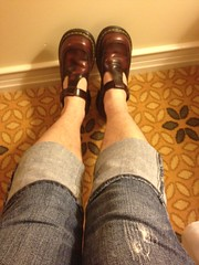 Cherry Docs and jeans (Patent Mary Janes) Tags: cherry skinny capri shoes jeans maryjanes drmartens docmartens