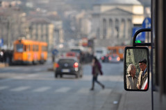 Lo specchio del tempo - The mirror of time. (sinetempore) Tags: street bus cars torino mirror reflex elderly turin autobus specchio riflesso anziani granmadre macchine piazzavittorio themirroroftime mygearandme lospecchiodeltempo