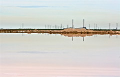 The Power of Two, Adelaide_1010 - 2 (Rikx) Tags: chimney reflection water horizontal grid pond power salt nopeople smokestack adelaide southaustralia powerstation damncool powergrid greenfields electricpower torrensisland torrensislandpowerstation saltevaporationsponds