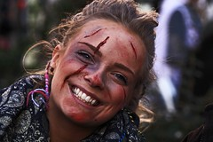 Bruised & cut with a radiant smile (Wilamoyo) Tags: york woman girl beautiful smile face make up festival female pretty young viking