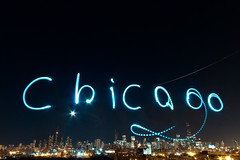 Chicago Painted with Light - Feb 8, 2012 (cshimala) Tags: light sky moon chicago skyline wideangle led paintingwithlight aroundtown 10mm chicagoist lightpaint paintlight canon7d ledbikelike