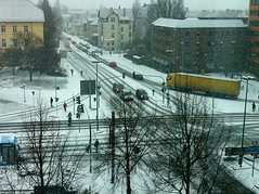 crossing (grapfapan) Tags: schnee winter people urban snow germany cityscape crossing traffic traces göttingen