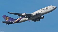 Thai Airways - Boeing 747-4D7, HS-TGX (Bernd 2011) Tags: plane germany airplane deutschland airport hessen aircraft boeing flughafen flugzeug starts 747 spotting fra thaiairways fraport frankfurtairport 07c hstgx passagierflugzeuge