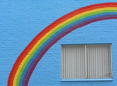 Under the Rainbow (mikecogh) Tags: cbd rainbow window curve arch colour blinds frame adelaide streetart publicart