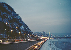 Untitled (Nisha Marie Photography) Tags: road street city bridge blue winter mountain snow cold cars film ice night 35mm river point grey lights frost purple time budapest vanishing danube