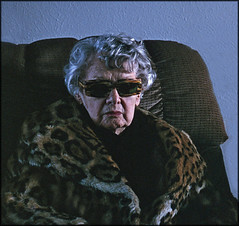 Sandy's Coat (Bob R.L. Evans) Tags: blue portrait art face glasses women thought age grandparents lonely longevity seniorcitizen