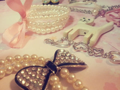 2012-02-14 23_wonder (Chiyoko1993) Tags: pink cute love cat vintage heart girly jewellery kawaii bracelet ribbon pearl pendant necklance
