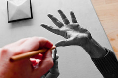 Handcraft (glukorizon) Tags: lamp pencil mirror licht hand drawing spiegel mcescher odc selectivecolouring tekenen potlood odc2 ourdailychallenge yourownhand selectiefkleurgebruik