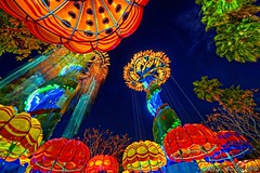 Bioluminescence... (Ring of Fire Hot Sauce 1) Tags: colors night disneyland wideangle hdr disneycaliforniaadventure paradisepier jumpinjellyfish photomatix longexposurelight canon7d sigma816