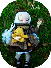 Little Acerola (Purple  Enma) Tags: park sleeping espaa dog up ball relax spain flora doll picnic dolls nap quiet lola tranquility meeting andalucia plushie cordoba siesta bjd fl resting resin acerola meet steampunk isy jointed ltf mombi littlefee fairylan