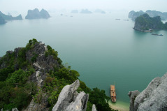 A view over Bai To Long bay (Gregor  Samsa) Tags: sea cliff mist misty fog boats bay boat nationalpark long view foggy lookout cliffs vietnam to gia overlook bai quc vn t bi baitolong baitolongbay vnqucgiabitlong