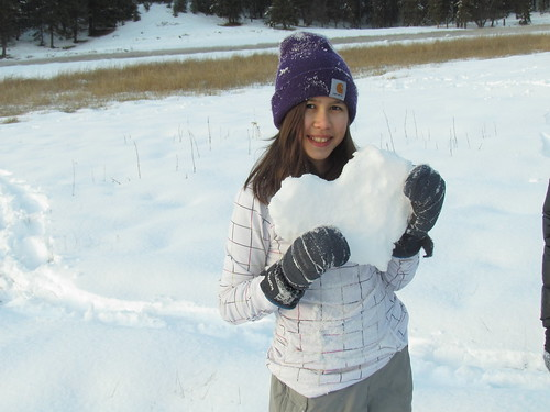 Julia with snow-art