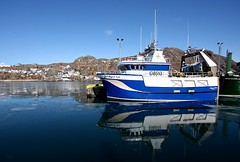 Harbour Blues (Karen_Chappell) Tags: ocean blue sky seascape reflection water newfoundland boat fishing scenery harbour battery scenic stjohns atlantic nfld