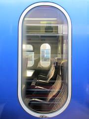 Blue capsule train (shaggy359) Tags: blue cambridge reflection window train seat trains seats through outline cambridgeshire cambs ovel