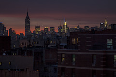lights on (Several seconds) Tags: nyc windows sunset red newyork manhattan empire chrysler crazysky gotamist