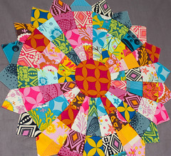 The start of something small. (badskirt) Tags: circle dresden bright good sunny points quilting patchwork folks jellyroll pieced annamariahorner