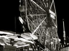Wonder Wheel (jleathers) Tags: newyorkcity summer bw ny blur coneyisland amusement ride boardwalk ferriswheel wonderwheel
