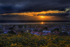 last post (Shertila Tony) Tags: sunset england panorama water weather clouds golden town europe day view rooftops cloudy britain scenic vista hdr wirral westkirby gorse merseyside irishsea endoftheday hilbreisland liverpoolbay yahooweather