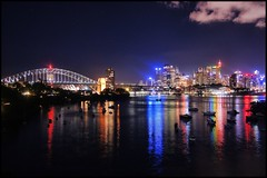 Sydney (kc_y0 (Away for a while)) Tags: new city bridge water skyline wales night reflections photography rainbow long exposure colours harbour 5 sony south sydney australia nsw nex waverton