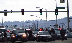 2012-03-16 Scene is secure (zargoman) Tags: seattle guy car lights washington bad criminal crime cop wa department cruiser lawenforcement seattlepolice spd arrested arrest dodgecharger shootout sirens suspect standoff policecars fordcrownvictoria gmcyukon policescene nleaf nleafexclusive policesurround