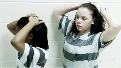 hands on their heads (Inmate_Stripes) Tags: girls female women stripes prison jail prisoners inmates