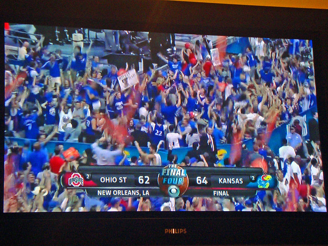 KU wins!  Will play Monday for Championship!
