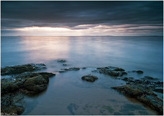 Gullane (Fraser.Price) Tags: ocean uk longexposure light shadow sea sky cloud seascape nature water clouds landscape outdoors coast scotland sand nikon rocks exposure waves coastline eastlothian d700