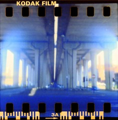 Pinhole (pathlost) Tags: uk bridge film 35mm scotland motorway kodak glasgow pinhole negative 200 scanned flyover