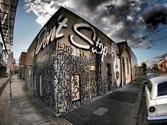dont stop (75kombi) Tags: streetart collingwood fisheye 8mm 43 e5 rone dontstop fourthirds melbournegraffiti samyang olympusdslr olympus43 olympuse5 ronestreetart e5dslr