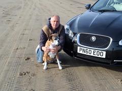 Jaguar XF S with Micha the Boxer Dog on Brean Sands (andreboeni) Tags: auto dog cars beach car boxerdog voiture boxer british jaguar autos sands voitures automobili xf brean xfs