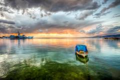 Difference (Nejdet Duzen) Tags: trip travel sunset sea reflection turkey boat cloudy trkiye deniz sandal warship izmir gnbatm yansma turkei seyahat navalmuseum bulutlu inciralt savagemisi denizmzesi