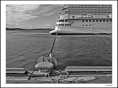 Bound (frode skjold) Tags: bw monochrome oslo norway boat norge blackwhite ship rope cruiseship tau skip bt oslofjorden cruiseskip fujifilmx20 photoshop14