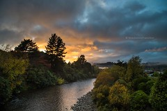 sunrise and dramatic sky over Hutt river in autumn (hueymilunz) Tags: autumn sky colour tree clouds sunrise river season landscape nz wellington newzealandtransition